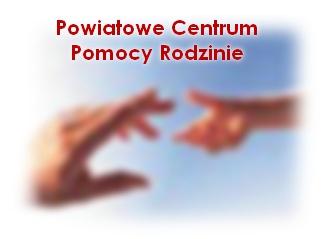 Rysunek dłoni wyciągniętej do drugiej dłoni z napisem Powiatowe Centrum Pomocy Rodzinie